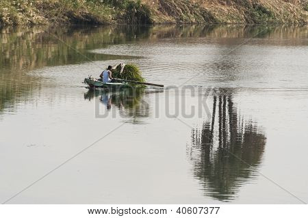 Traditional local egyptian nubian rowing a wooden boat on the river nile poster