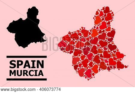 Love Mosaic And Solid Map Of Murcia Province On A Pink Background. Mosaic Map Of Murcia Province Is