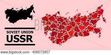Love Collage And Solid Map Of Ussr On A Pink Background. Collage Map Of Ussr Is Composed From Red Lo