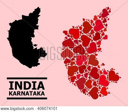 Love Collage And Solid Map Of Karnataka State On A Pink Background. Collage Map Of Karnataka State I