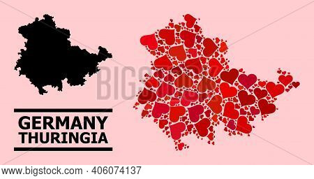 Love Mosaic And Solid Map Of Thuringia State On A Pink Background. Mosaic Map Of Thuringia State Is