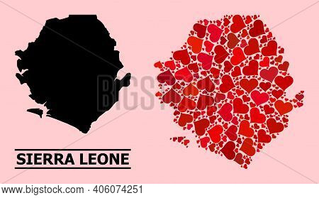 Love Mosaic And Solid Map Of Sierra Leone On A Pink Background. Mosaic Map Of Sierra Leone Designed