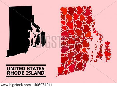 Love Mosaic And Solid Map Of Rhode Island State On A Pink Background. Mosaic Map Of Rhode Island Sta