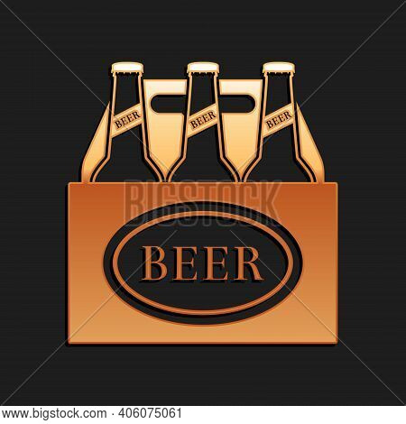 Gold Pack Of Beer Bottles Icon Isolated On Black Background. Case Crate Beer Box Sign. Long Shadow S