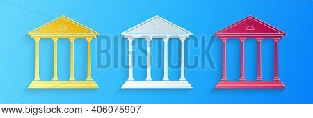 Paper Cut Courthouse Building Icon Isolated On Blue Background. Building Bank Or Museum. Paper Art S