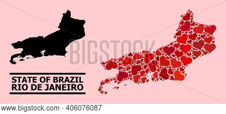 Love Collage And Solid Map Of Rio De Janeiro State On A Pink Background. Mosaic Map Of Rio De Janeir