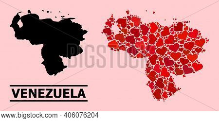 Love Collage And Solid Map Of Venezuela On A Pink Background. Collage Map Of Venezuela Is Composed W