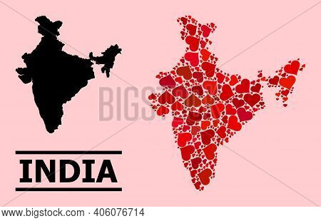 Love Mosaic And Solid Map Of India On A Pink Background. Mosaic Map Of India Is Formed With Red Vale