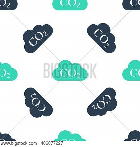 Green Co2 Emissions In Cloud Icon Isolated Seamless Pattern On White Background. Carbon Dioxide Form