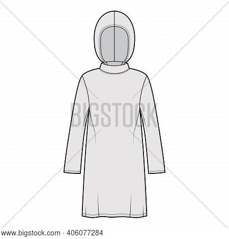 Modest Hijab Tunic Technical Fashion Illustration With Long Sleeves, Oversized, Under-the-knee Lengt