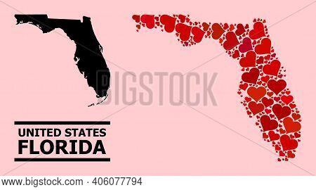 Love Pattern And Solid Map Of Florida State On A Pink Background. Mosaic Map Of Florida State Is Des