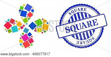 Square Colored Centrifugal Flower Shape, And Blue Round Square Rubber Seal. Object Twist Composed Fr