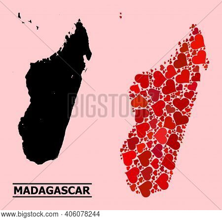 Love Pattern And Solid Map Of Madagascar Island On A Pink Background. Collage Map Of Madagascar Isla