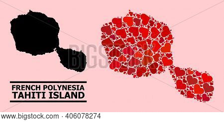 Love Mosaic And Solid Map Of Tahiti Island On A Pink Background. Collage Map Of Tahiti Island Compos