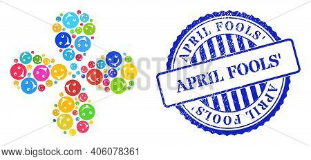 Idiot Smiley Bright Curl Flower With 4 Petals, And Blue Round April Fools Unclean Stamp Print. Eleme