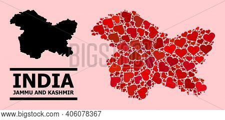 Love Collage And Solid Map Of Jammu And Kashmir State On A Pink Background. Mosaic Map Of Jammu And