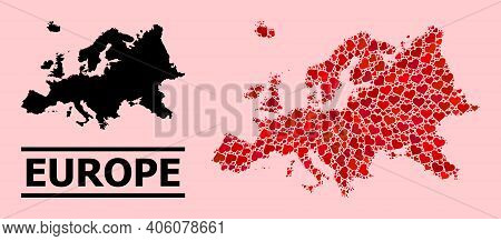 Love Mosaic And Solid Map Of Europe On A Pink Background. Mosaic Map Of Europe Is Composed With Red