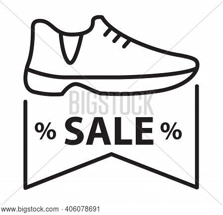 Shoes Discount Icon. Sign For A Shoe Online Store. Outline Footwear Sign.