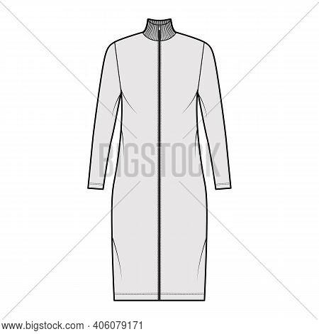 Turtleneck Zip-up Dress Technical Fashion Illustration With Long Sleeves, Knee Length, Oversized Bod