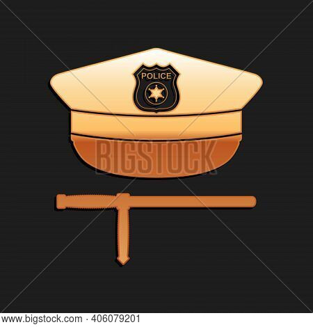Gold Police Cap And Rubber Baton Icon Isolated On Black Background. Security Truncheons. Police Stic