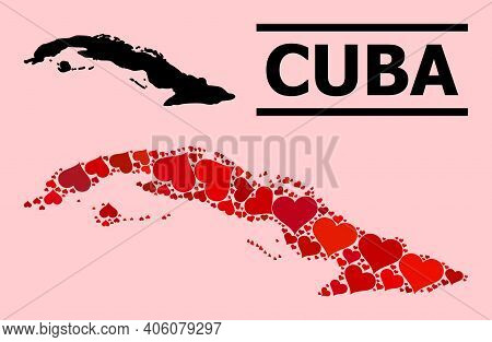 Love Pattern And Solid Map Of Cuba On A Pink Background. Mosaic Map Of Cuba Is Composed With Red Lov