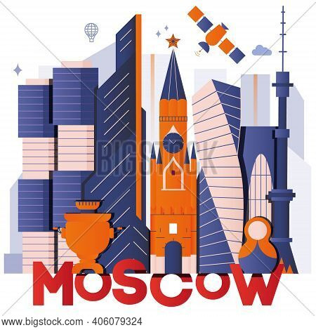 Moscow Culture Travel Night Set, Famous Architectures And Specialties In Flat Design. Business Trave