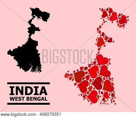 Love Collage And Solid Map Of West Bengal State On A Pink Background. Collage Map Of West Bengal Sta