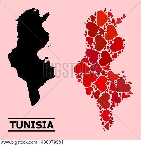 Love Mosaic And Solid Map Of Tunisia On A Pink Background. Mosaic Map Of Tunisia Formed With Red Val