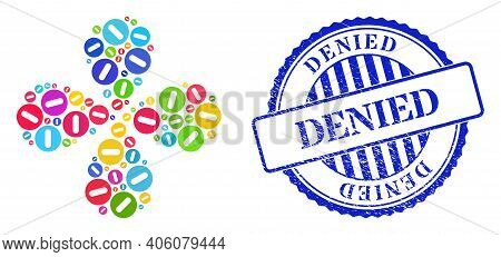 Remove Colored Rotation Flower Shape, And Blue Round Denied Rubber Stamp Imitation. Element Flower W