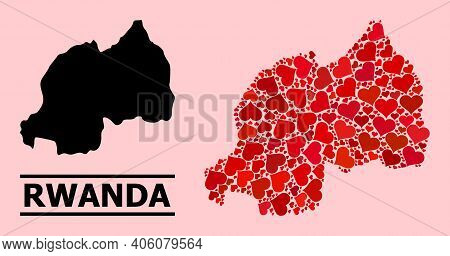 Love Collage And Solid Map Of Rwanda On A Pink Background. Collage Map Of Rwanda Is Created With Red