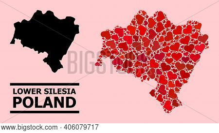 Love Mosaic And Solid Map Of Lower Silesia Province On A Pink Background. Collage Map Of Lower Siles