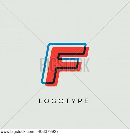 Stunning Letter F With 3d Color Contour, Minimalist Letter Graphic For Modern Comic Book Logo, Carto
