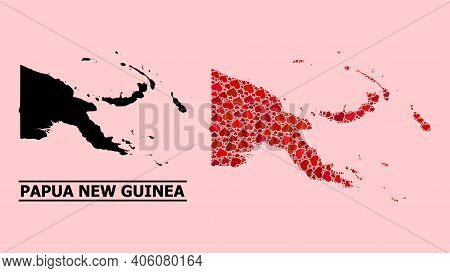 Love Mosaic And Solid Map Of Papua New Guinea On A Pink Background. Mosaic Map Of Papua New Guinea I
