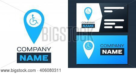 Logotype Disabled Handicap In Map Pointer Icon Isolated On White Background. Invalid Symbol. Wheelch
