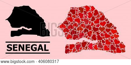 Love Mosaic And Solid Map Of Senegal On A Pink Background. Mosaic Map Of Senegal Is Created With Red