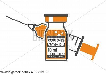 Covid 19 Coronavirus Vaccine. Disposable Medical Syringe With A Bottle Of Coronavirus Vaccine. Covid