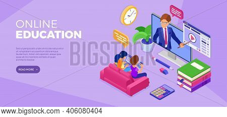 Online Distance Education Banner With Isometric Character. Internet Course Or Online Learning From H