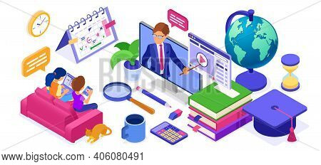 Online Study Distance Education Banner With Isometric Character Internet Course Or Online Learning F