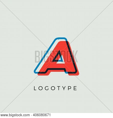 Stunning Letter A With 3d Color Contour, Minimalist Letter Graphic For Modern Comic Book Logo, Carto