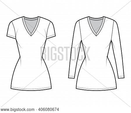 T-shirt Dress Technical Fashion Illustration With V-neck, Long, Short Sleeves, Mini Length, Fitted B
