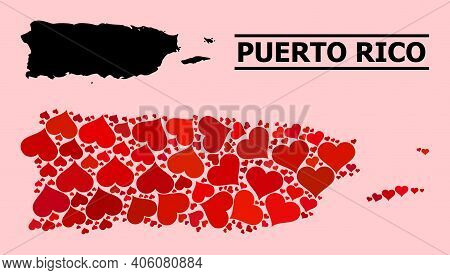 Love Mosaic And Solid Map Of Puerto Rico On A Pink Background. Collage Map Of Puerto Rico Designed W