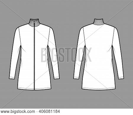 Turtleneck Zip-up Dress Technical Fashion Illustration With Long Sleeves, Mini Length, Oversized Bod