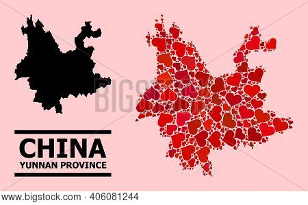 Love Pattern And Solid Map Of Yunnan Province On A Pink Background. Mosaic Map Of Yunnan Province Is