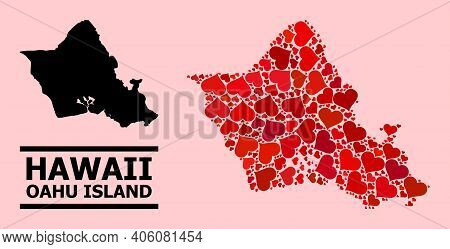 Love Mosaic And Solid Map Of Oahu Island On A Pink Background. Mosaic Map Of Oahu Island Formed With