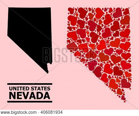 Love Mosaic And Solid Map Of Nevada State On A Pink Background. Mosaic Map Of Nevada State Created W
