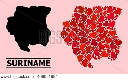 Love Mosaic And Solid Map Of Suriname On A Pink Background. Mosaic Map Of Suriname Created With Red
