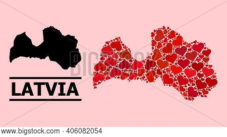 Love Mosaic And Solid Map Of Latvia On A Pink Background. Collage Map Of Latvia Composed With Red Lo