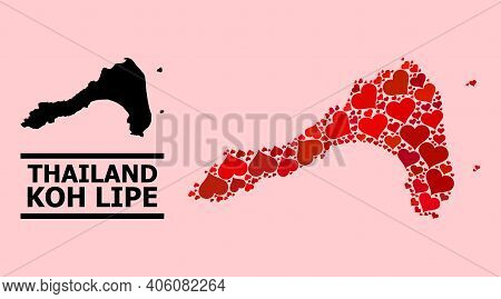 Love Collage And Solid Map Of Koh Lipe On A Pink Background. Collage Map Of Koh Lipe Is Formed With