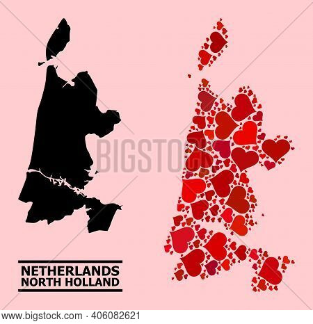Love Collage And Solid Map Of North Holland On A Pink Background. Collage Map Of North Holland Is Cr