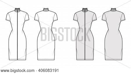 Turtleneck Zip-up Dress Technical Fashion Illustration With Short Sleeves, Knee Length, Fitted Body,